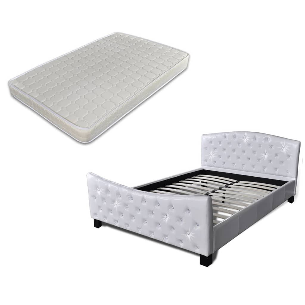 hochglanz kunstlederbett doppelbett bett 140 x 200 cm wei. Black Bedroom Furniture Sets. Home Design Ideas