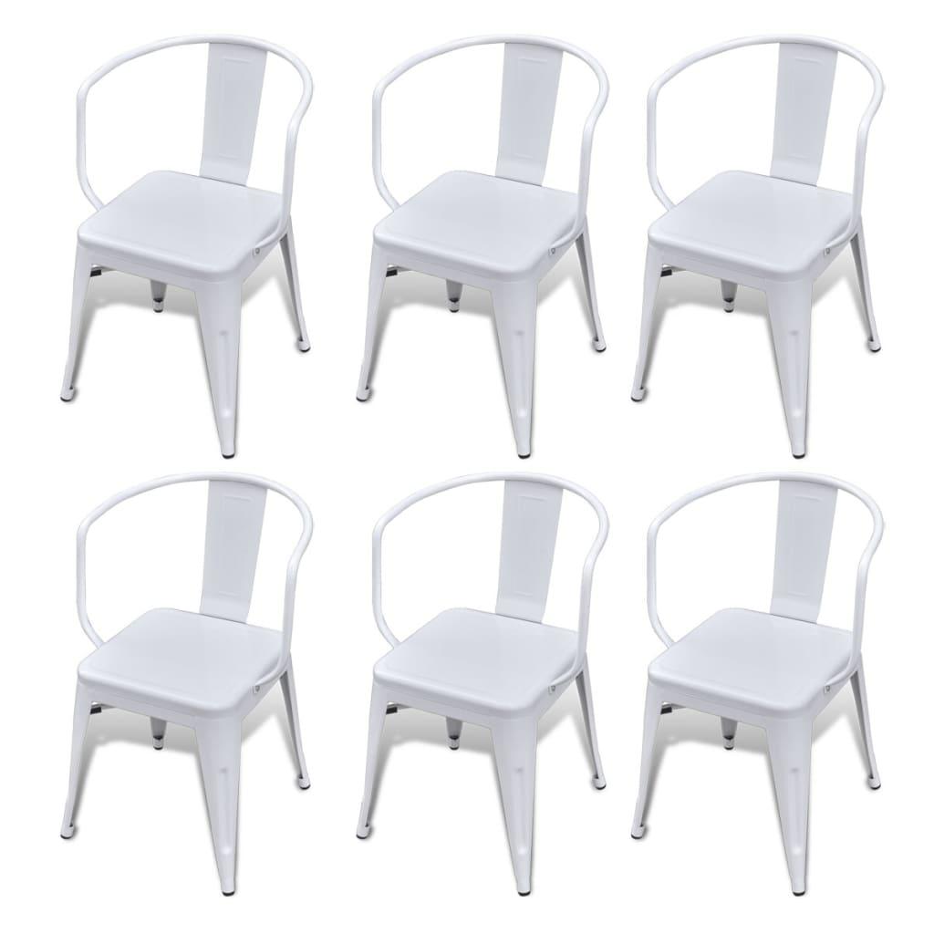 Acheter lot de 6 chaises de salle manger avec dossier blanc pas cher - Lot de 6 chaises salle a manger ...