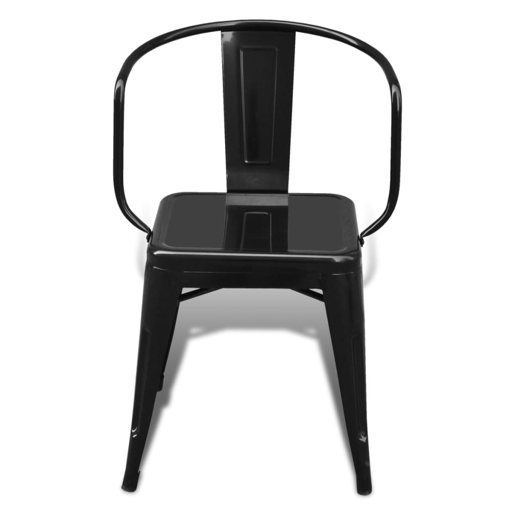 Silla de comedor estilo industrial 6 unidades negras for Sillas negras para comedor