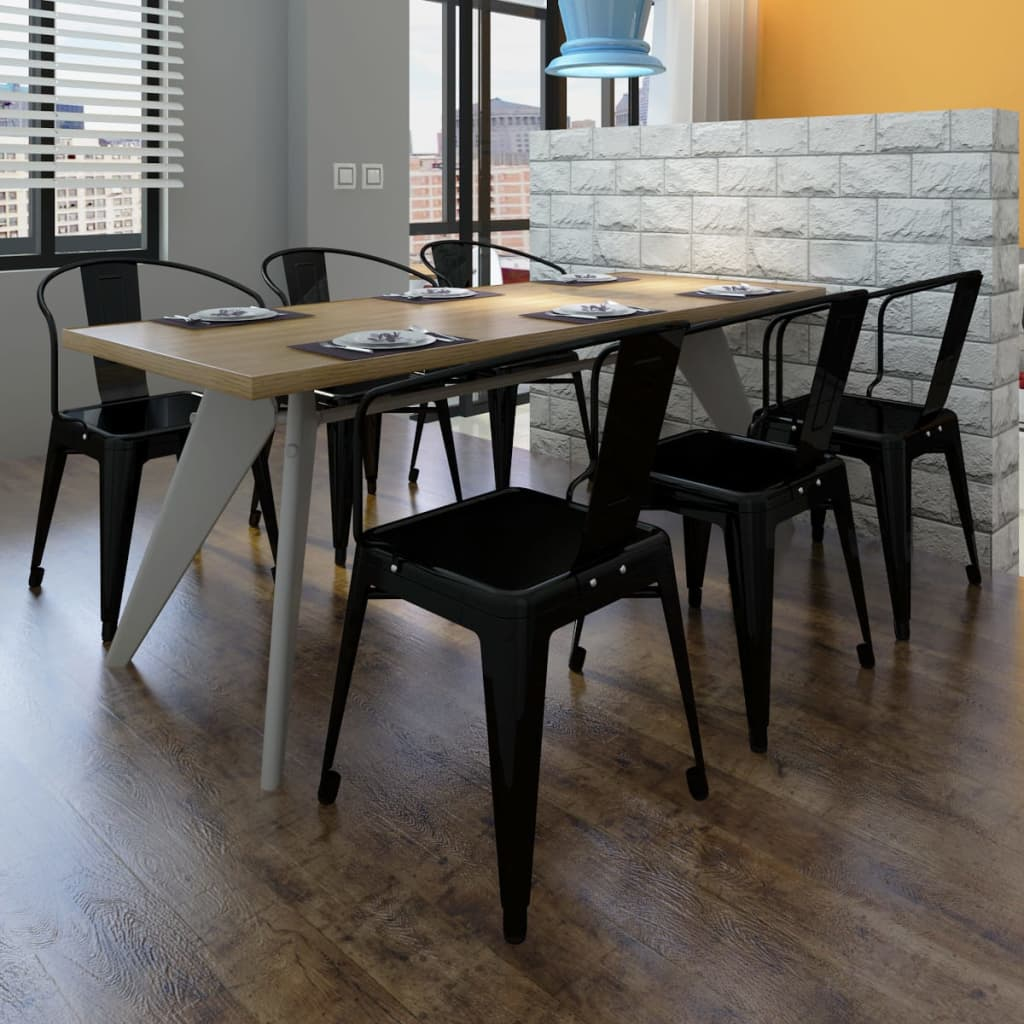 Silla de comedor estilo industrial 6 unidades negras for Sillas para comedor industrial