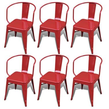 Silla de comedor estilo industrial 6 unidades rojas for Sillas de cocina rojas