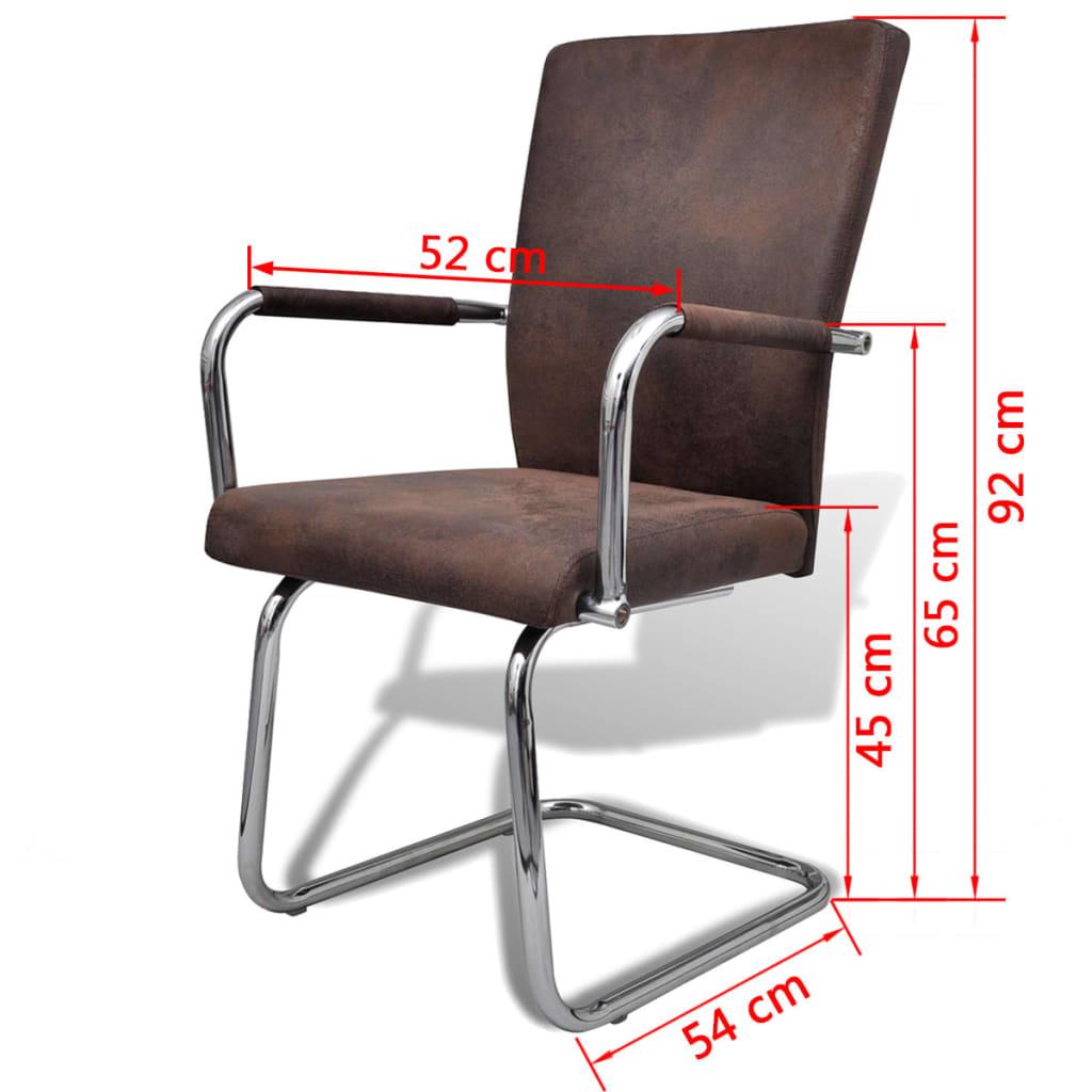 Vidaxl 4 pz sedie per sala da pranzo in pelle artificiale for Sedie in pelle marrone