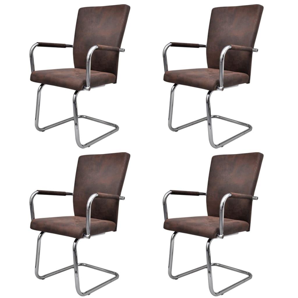 Vidaxl 4x sedie da pranzo in similpelle marrone moderne for Sedie moderne salotto