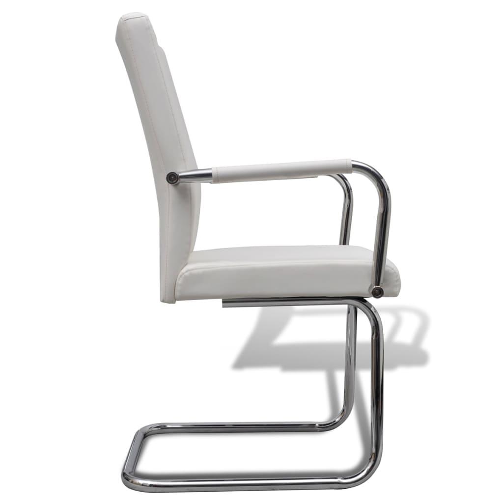Vidaxl 4x sedie da pranzo in similpelle bianche moderne for Sedie bianche sala da pranzo