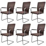 Cadeiras para jantar de couro artificial 6 peças Marrom
