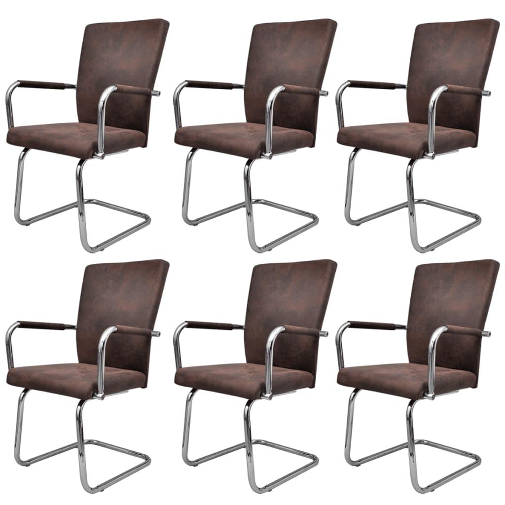 Acheter ensemble de 6 chaises de salle manger marron pas for Ensemble salle a manger