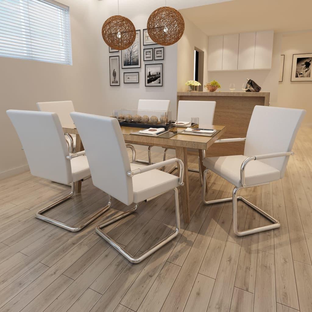Vidaxl sedie da pranzo 6 pezzi in cuoio sintetico bianco for Seggiole moderne