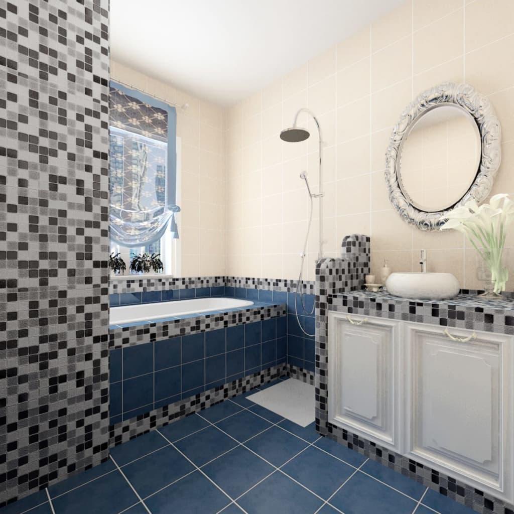 Articoli per piastrelle mosaico vetro bianco nero grigio 40 pezzi 4 28 mq - Piastrelle a mosaico ...