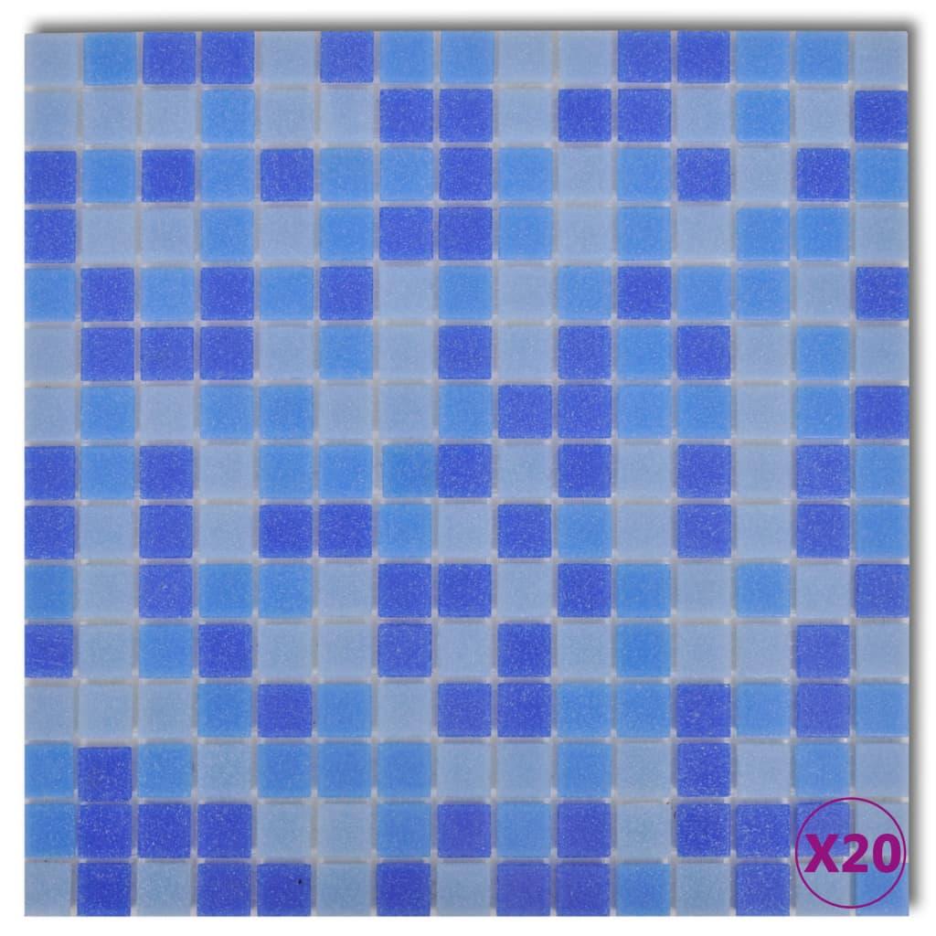 Mosaikplattor glas blå/vit 1,8m2