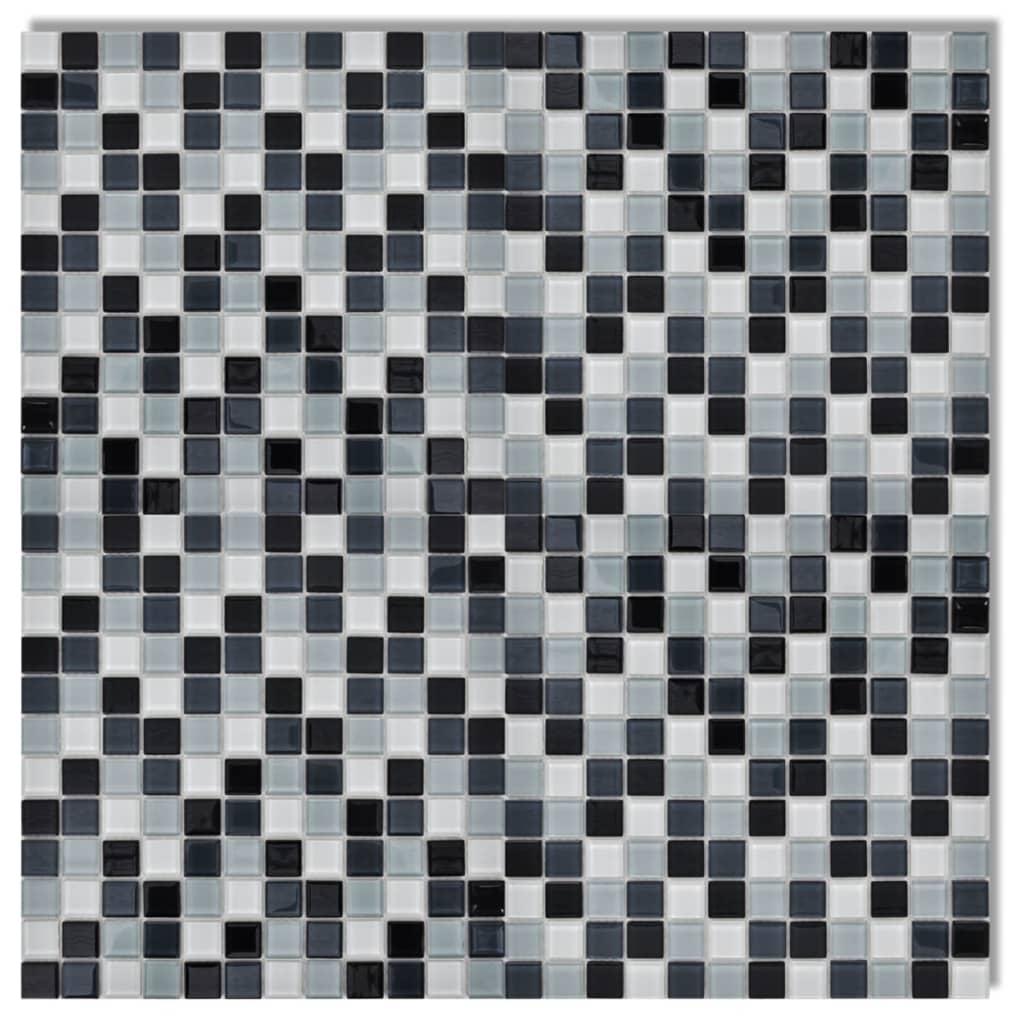 der 20x glass mosaik fliesen schwarz wei grau 1 8 qm. Black Bedroom Furniture Sets. Home Design Ideas