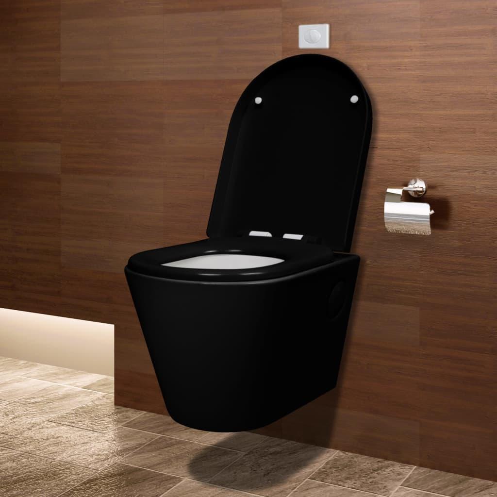 wall hung ceramic toilet wc bathroom black concealed cistern. Black Bedroom Furniture Sets. Home Design Ideas