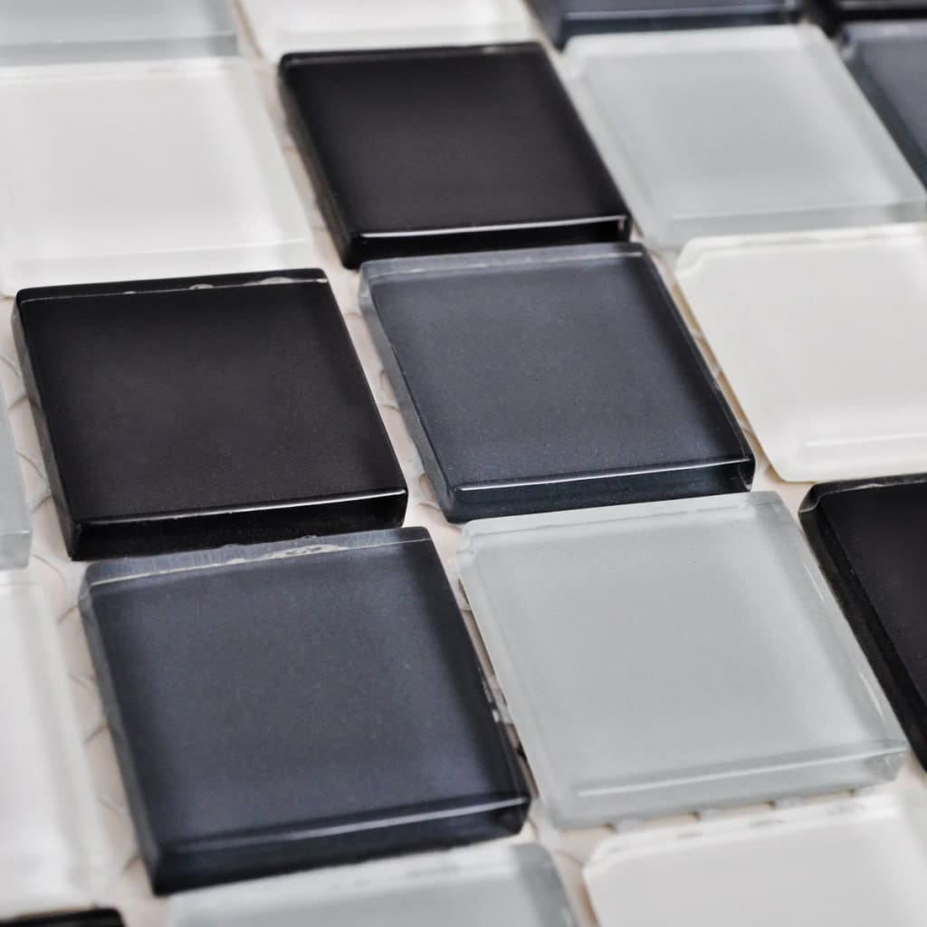 glass mosaic tiles black white grey 30 pcs. Black Bedroom Furniture Sets. Home Design Ideas