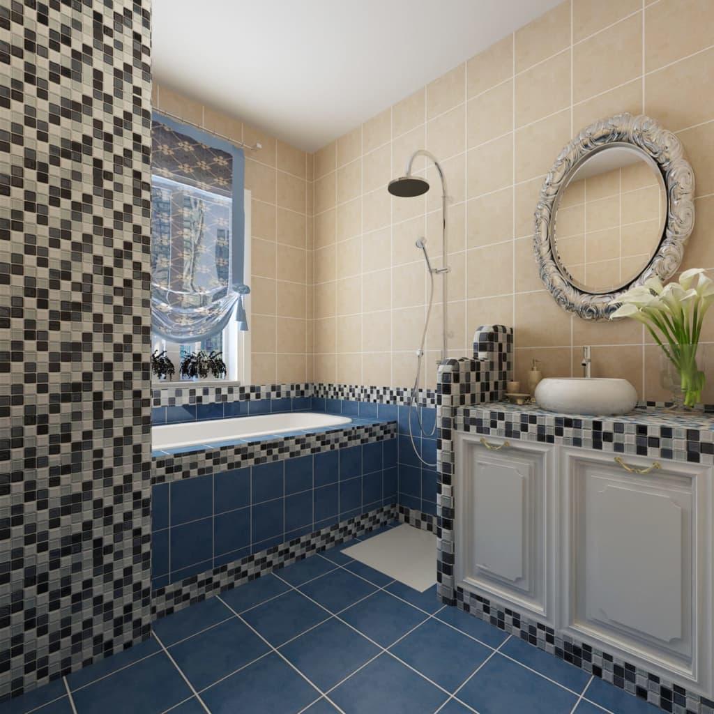 Piastrelle mosaico vetro bianco nero grigio 30 pz per 2 7 mq - Piastrelle mosaico ...