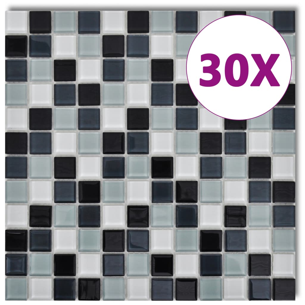 glass mosaic tiles black white grey 30 pcs 2 7 sqm in total. Black Bedroom Furniture Sets. Home Design Ideas
