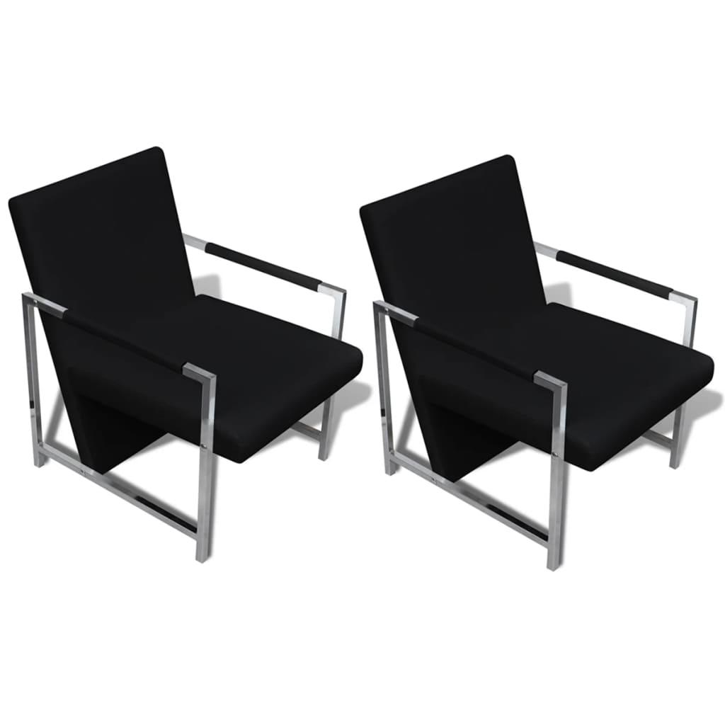 vidaXL Fotele o chromowanych ramach, 2 szt., sztuczna skóra, czarne