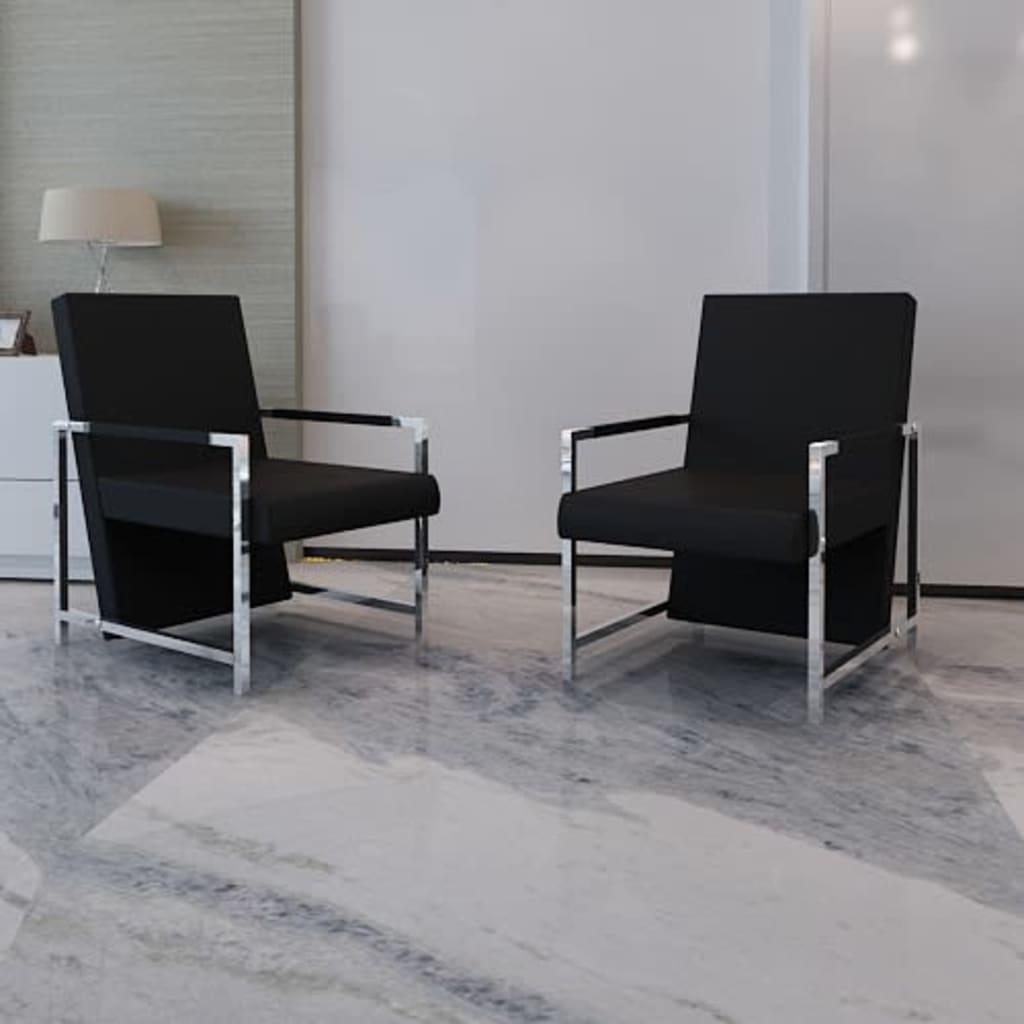 vidaXL 2 db fekete műbőr fotel króm vázzal
