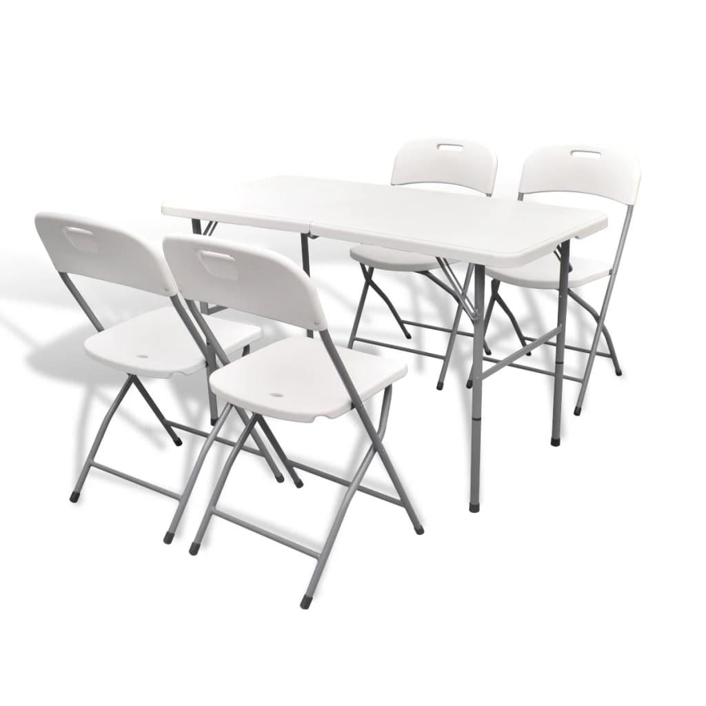 La boutique en ligne set de 4 chaises pliables et 1 table for Set de table blanc