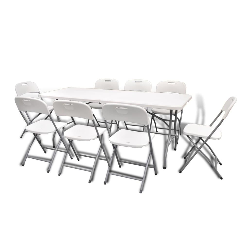 La boutique en ligne set de 8 chaises pliables et 1 table for Set de table blanc