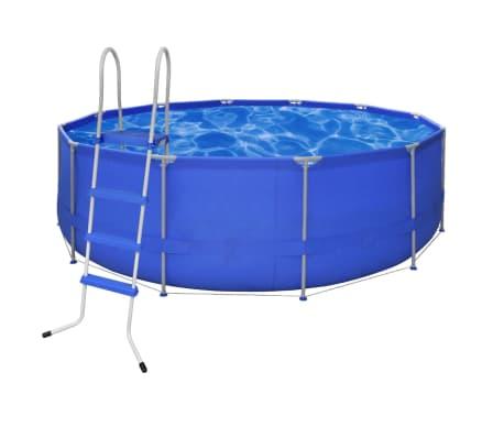 Schwimmbad pool rund 457 x 122 cm leiter for Stahlrahmen pool rund