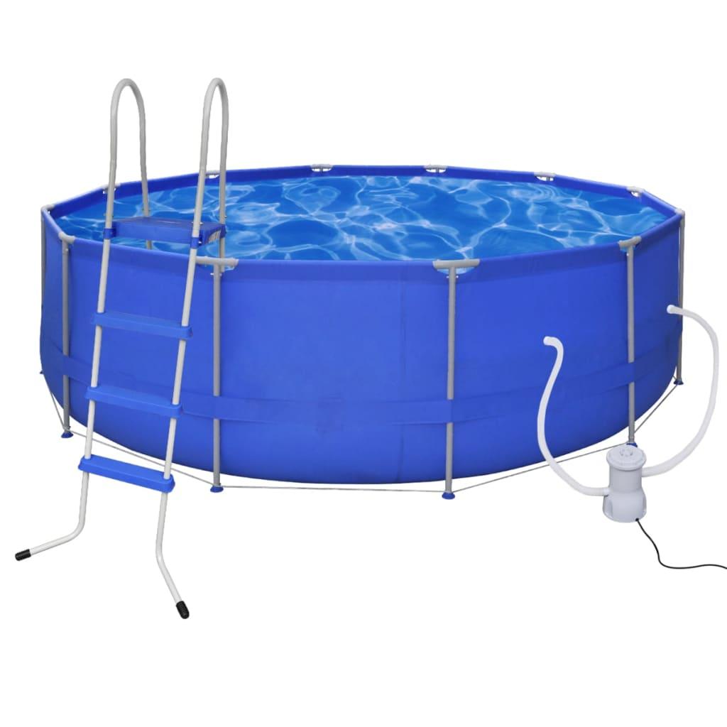 la boutique en ligne piscine ronde 457 cm avec echelle marches et pompe de filtration. Black Bedroom Furniture Sets. Home Design Ideas