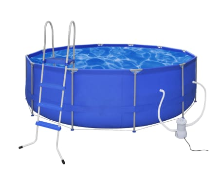 Swimming Pool Round 457 Cm With Ladder Filter Pump 2000 L H