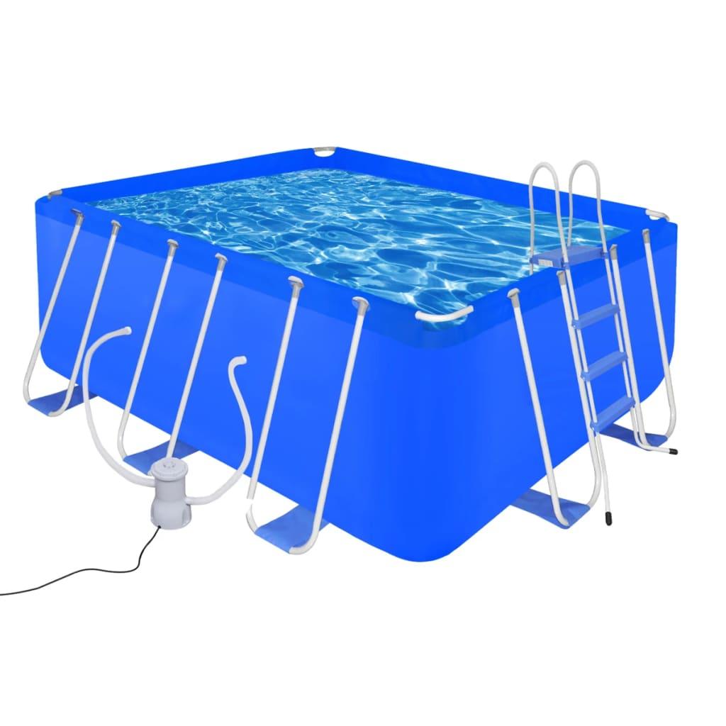 Ovanmarkspool Stål 400x207x122 cm inkl. poolstege filterpump 2000L/h