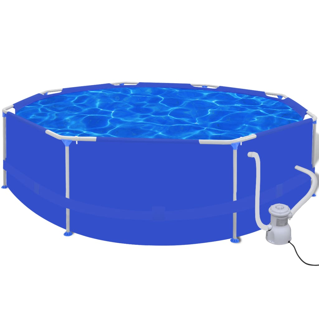 Swimming pool round 300 cm with filter pump 1135 l h for Swimmingpool rund
