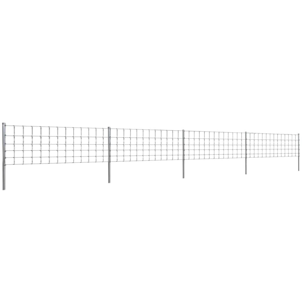 vidaXL 50 m Kerítés Oszloppal Drótkerítés 80/6/30