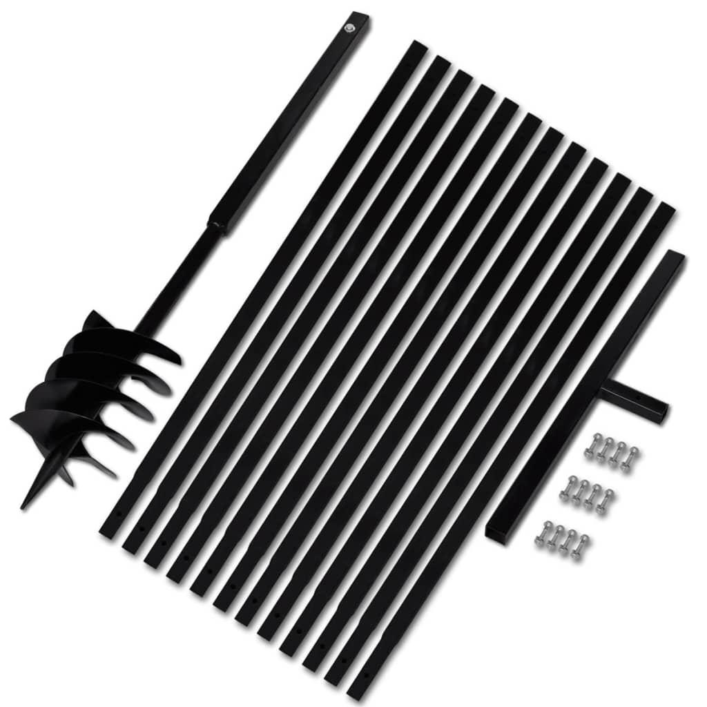 Afbeelding van vidaXL Grondboor met handvat 180 mm en verlengstukken 13 m (staal)