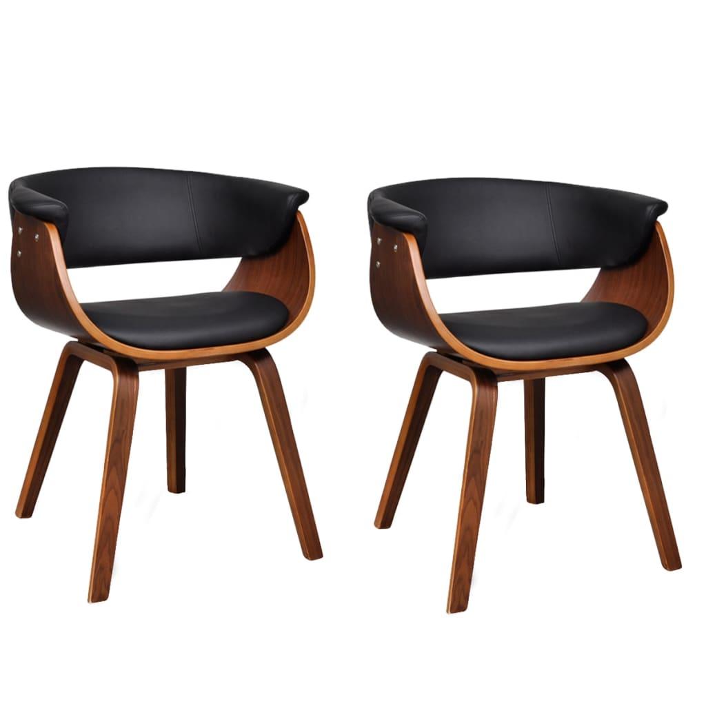 vidaXL Moderne eetkamerset bestaande uit twee stoelen (kunstleer en hout)