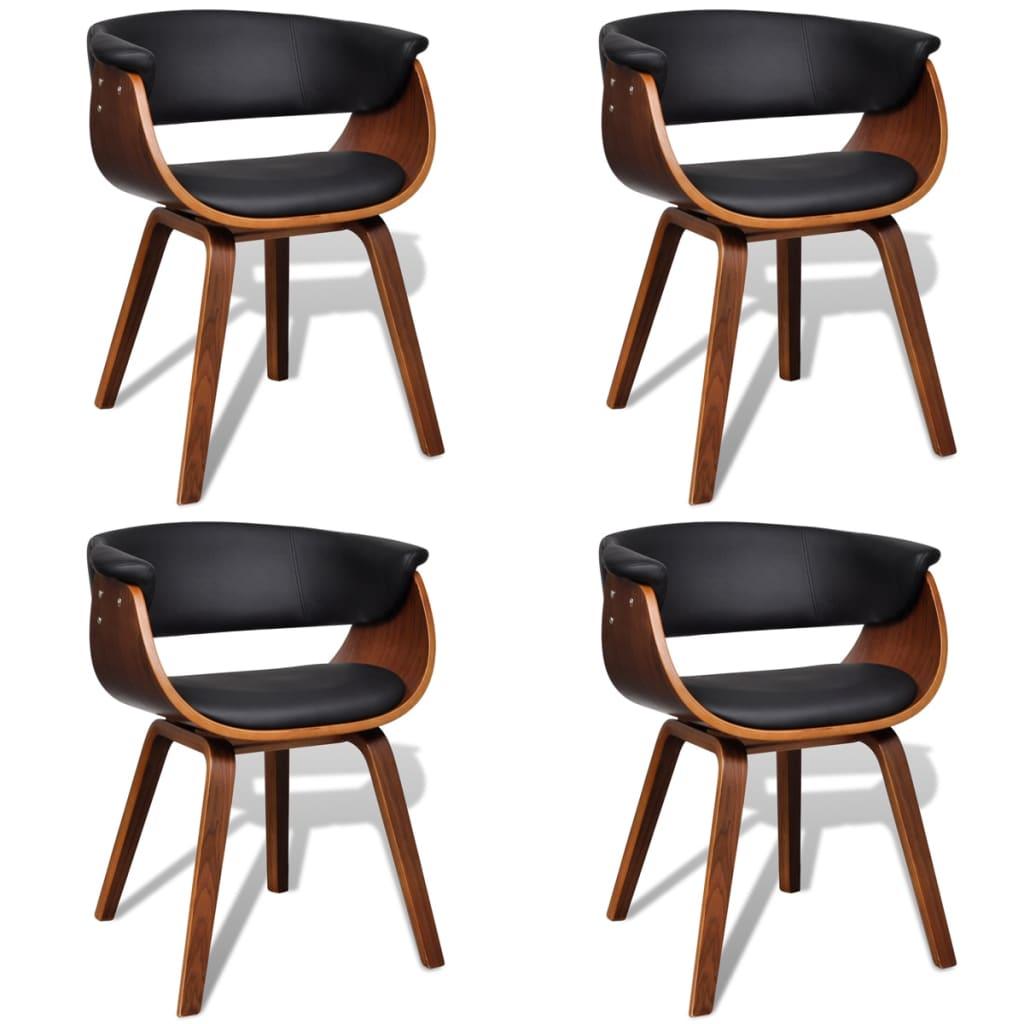 vidaXL Moderne eetkamerset bestaande uit vier stoelen (kunstleer en hout)