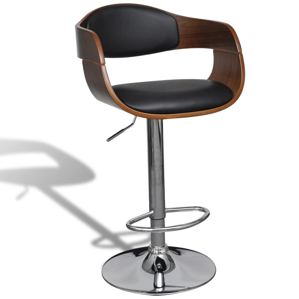 Leather bar stool chair with backrest armrest 2 pcs www for Stool chair