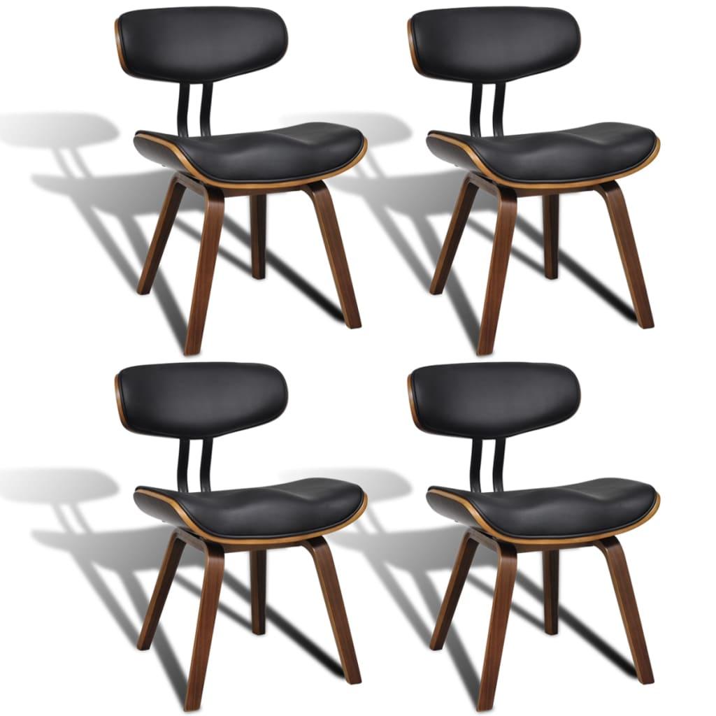 vidaXL Moderne eetkamerset van vier stoelen met rugleuning kunstleer/hout