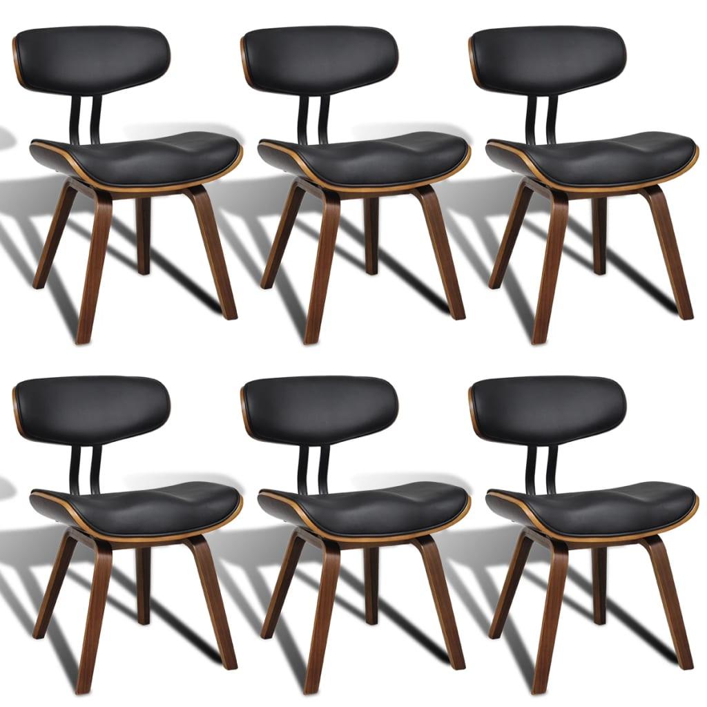 vidaXL Moderne eetkamerset van zes stoelen met rugleuning kunstleer/hout