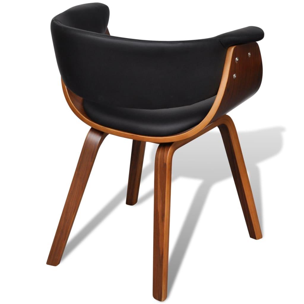 Silla de comedor moderna de madera y cuero artificial 6 for Sillas de comedor de cuero