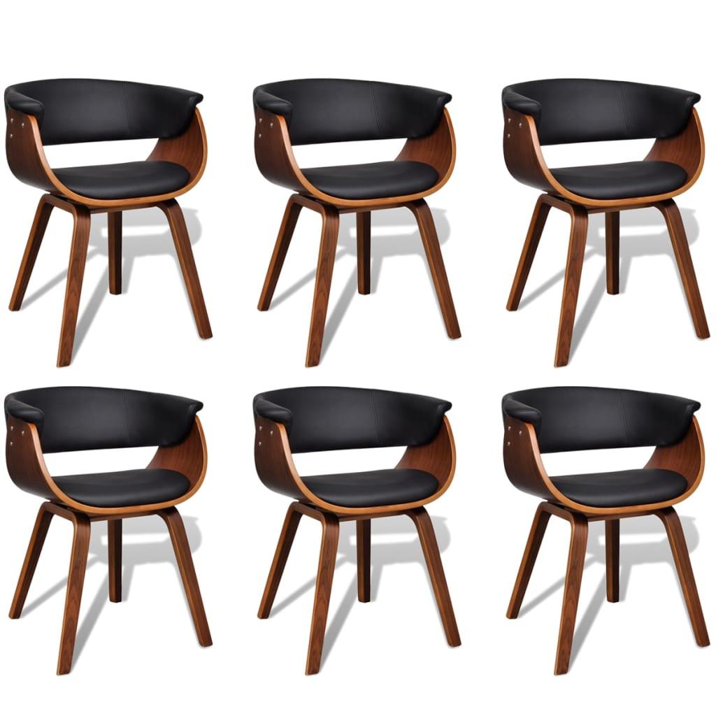 vidaXL Moderne eetkamerset bestaande uit zes stoelen (kunstleer en hout)