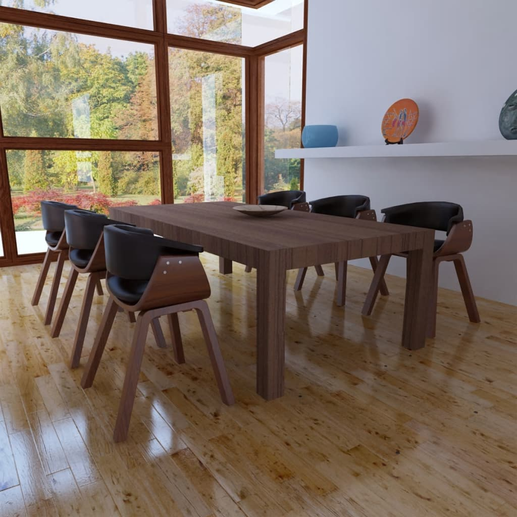 Moderne eetkamerset bestaande uit zes stoelen kunstleer en hout - Moderne stoelen ...