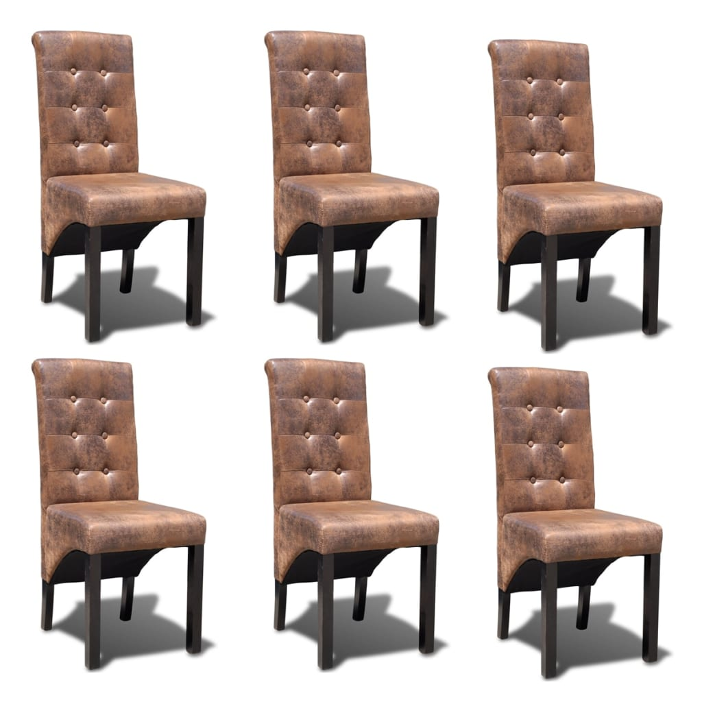 Vidaxl 6 pz sedie per sala da pranzo marroni - Sedie per sala pranzo ...