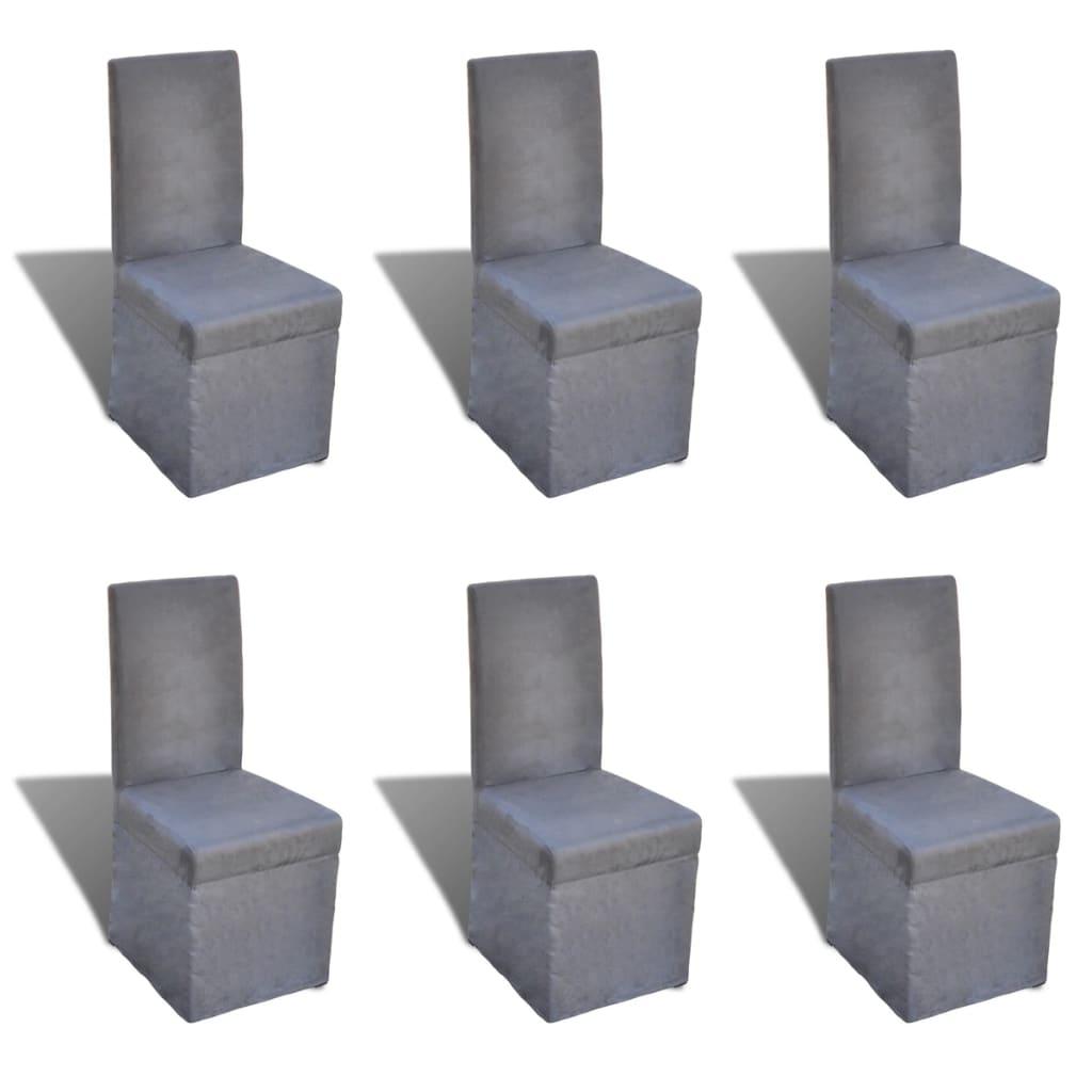 vidaXL Krzesła do jadalni, 6 szt., materiałowe, ciemnoszare