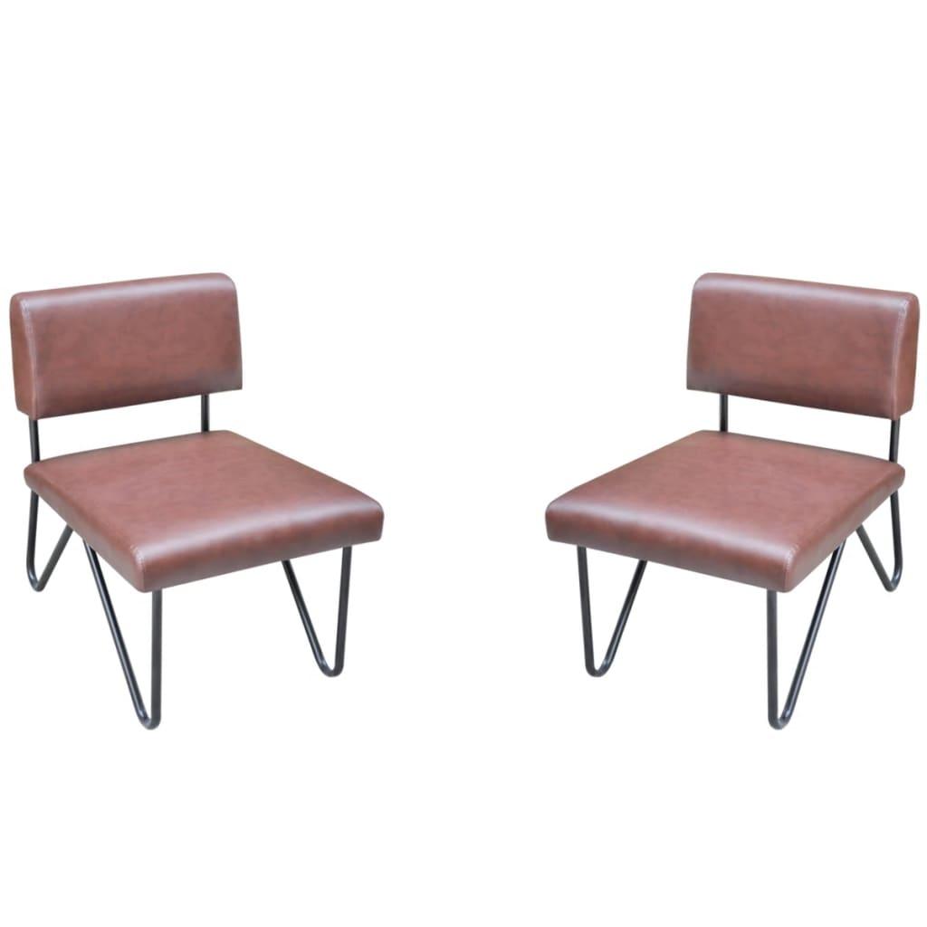 acheter lot de 2 chaise en cuir artificiel luxueuse brun pas cher. Black Bedroom Furniture Sets. Home Design Ideas