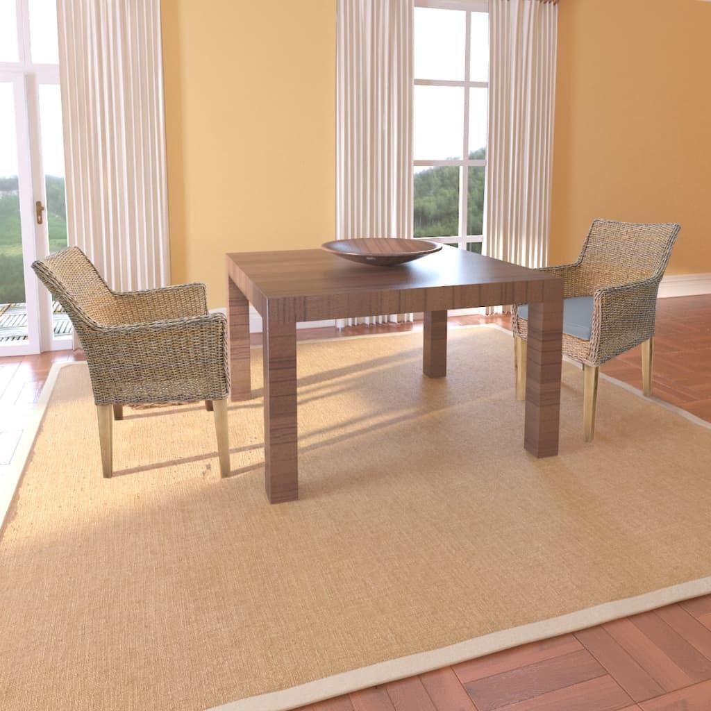 Conjunto 2 cadeiras Rattan pernas de madeira e almofada de espuma / 2  #80634B 1024x1024