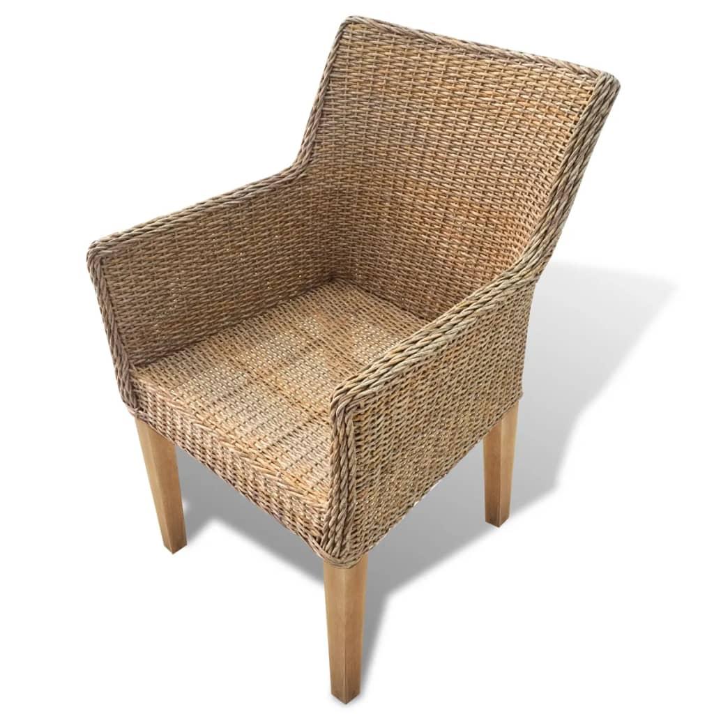 Conjunto 2 cadeiras Rattan pernas de madeira e almofada de espuma / 2  #9C682F 1024x1024
