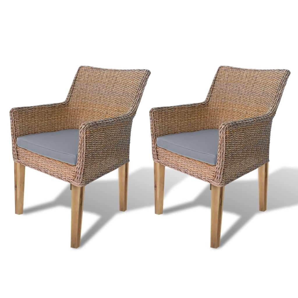 Conjunto 2 cadeiras Rattan pernas de madeira e almofada de espuma / 2  #8A6441 1024x1024