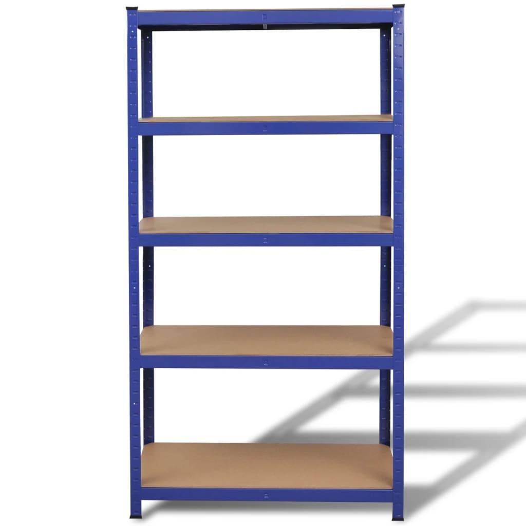 der 2 x regal lagerregal steckregal metallregal kellerregal blau online shop. Black Bedroom Furniture Sets. Home Design Ideas