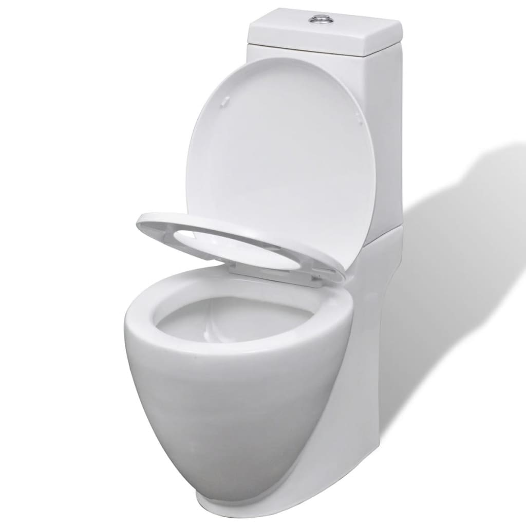 White Ceramic Toilet & Bidet Set