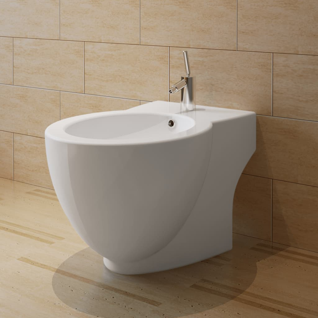 White Ceramic Toilet Bidet Set