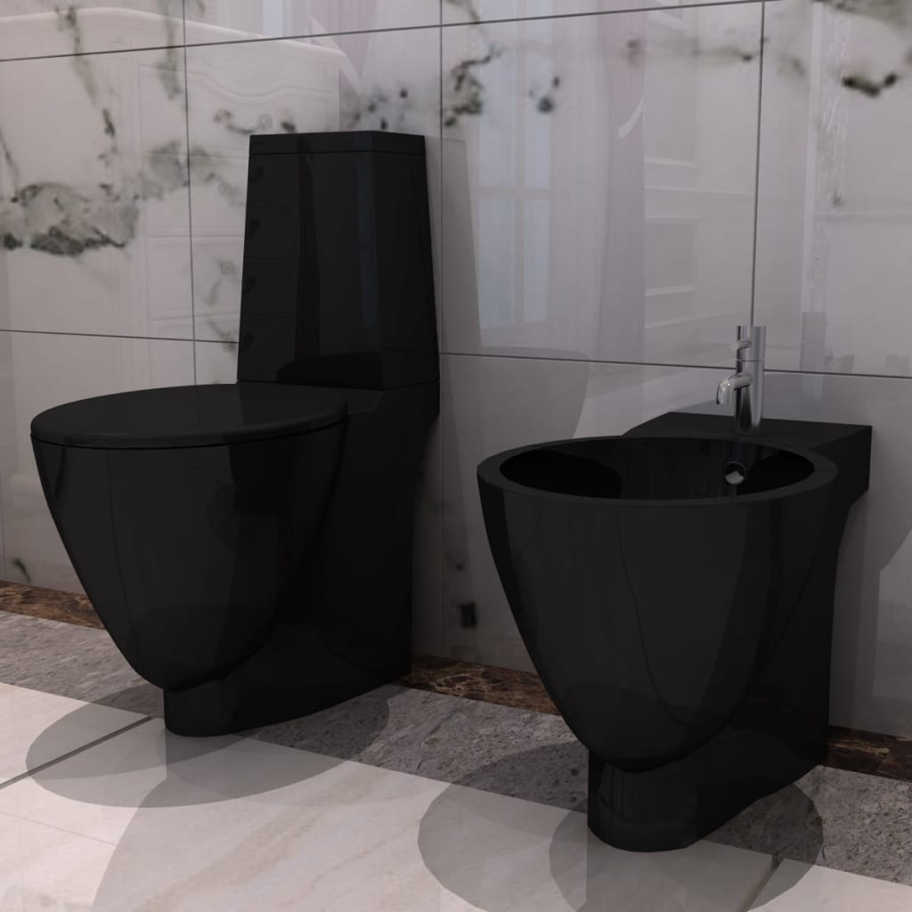 Black Ceramic Toilet Bidet Set