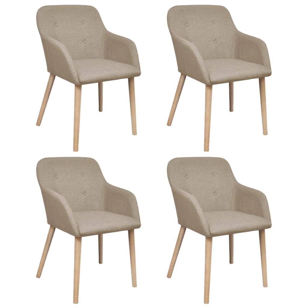 vidaXL Krzesła do jadalni z dębową ramą, 4 szt., materiałowe, beżowe
