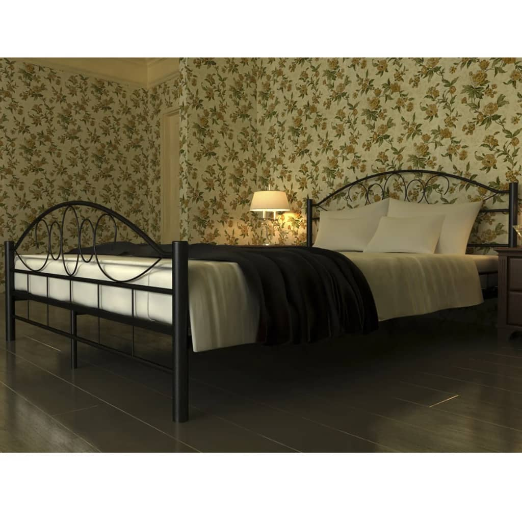 bett metallbett 140 x 200 memory matratze schwarz gebogen g nstig kaufen. Black Bedroom Furniture Sets. Home Design Ideas