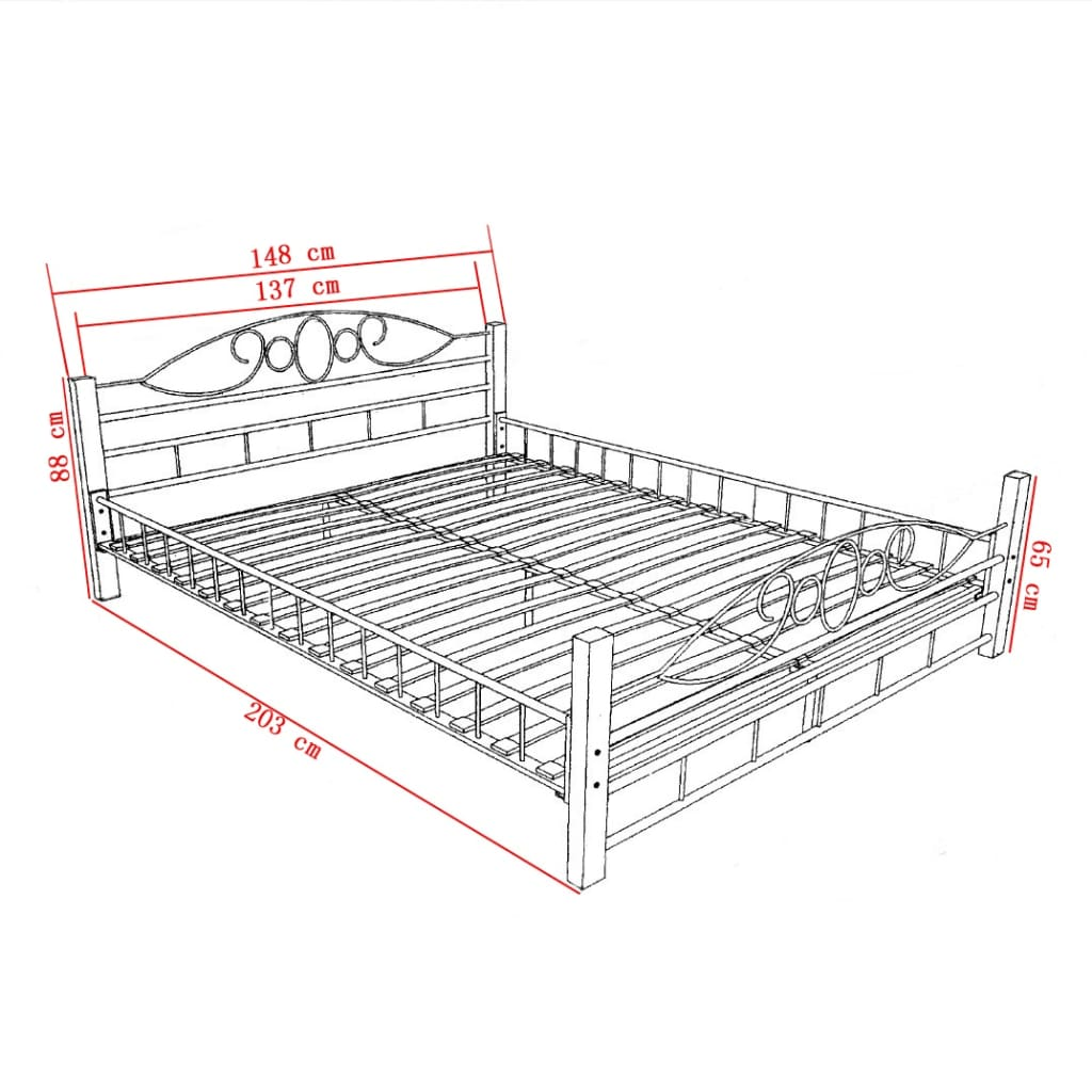 Der bett metallbett doppelbett 140 x 200 memory matratze for Doppelbett 140